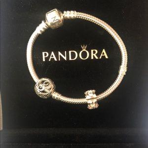 Pandora letter E Plus pink flower charm Bracelet